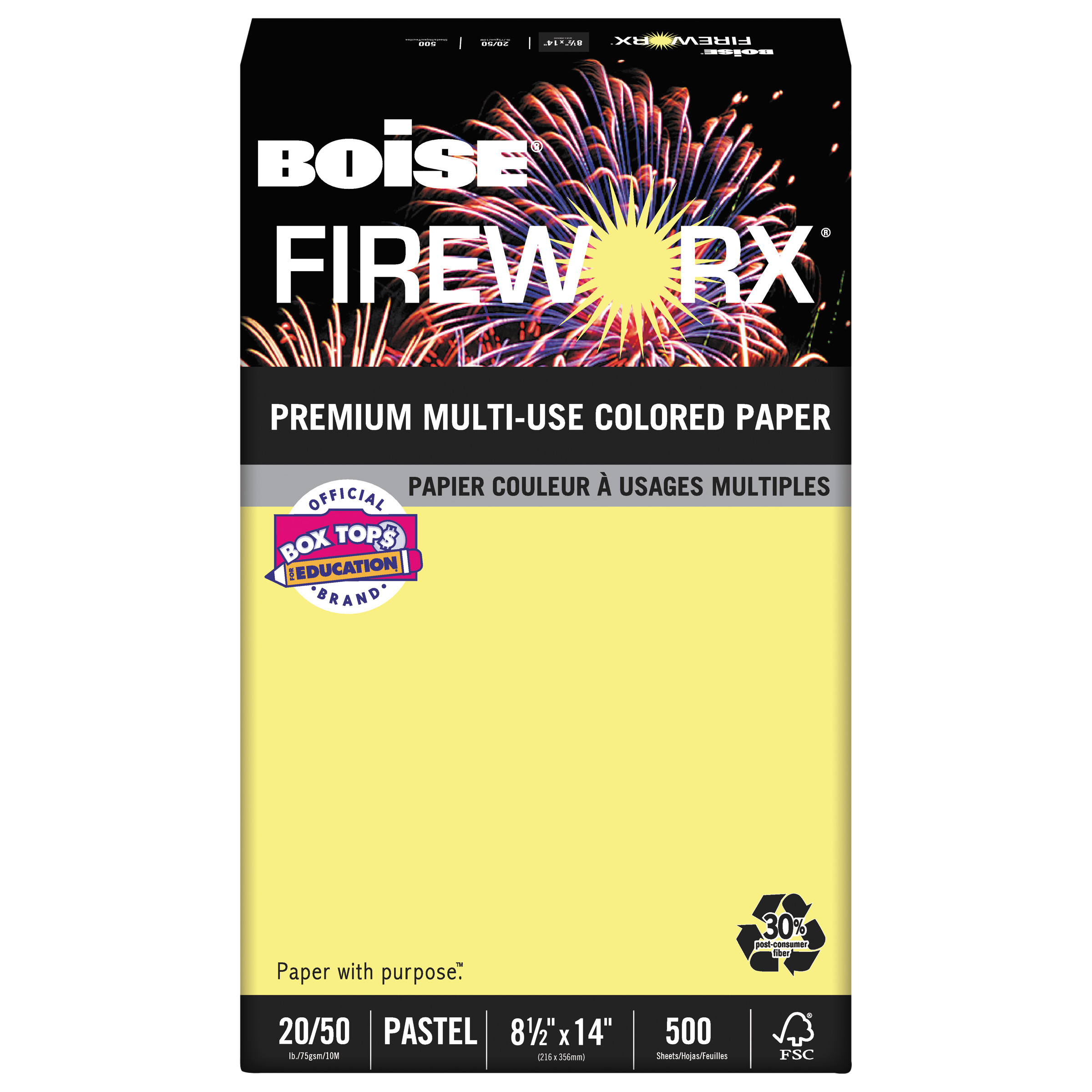Boise FIREWORX Colored Paper, 20lb, 8-1/2 x 14, Crackling Canary, 500 Sheets/Ream -CASMP2204CY