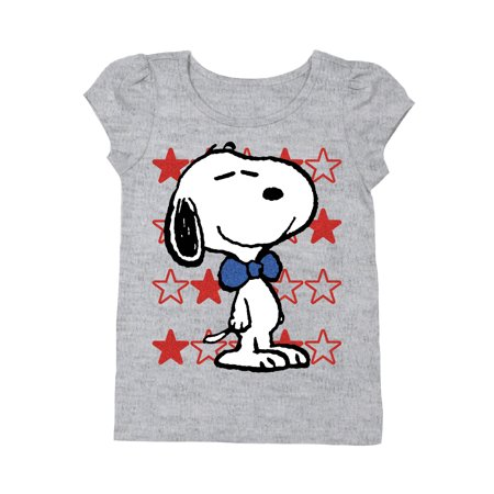 7cd651609 Peanuts - Snoopy Toddler Girls' Americana Short Puff Sleeve Glitter ...