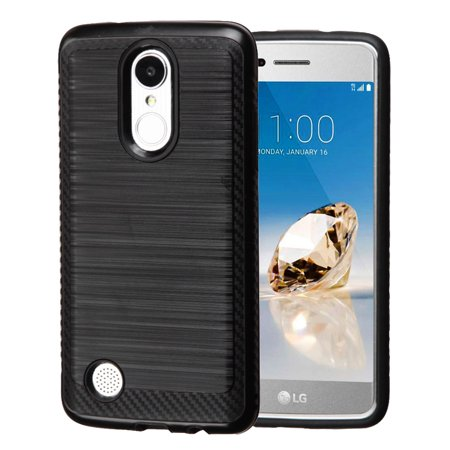 Kaleidio Case For LG Rebel 3 LTE L157BL (TracFone / Straight Talk) [Vector Armor] Slim Fit Hybrid [Shockproof] 2-Piece Carbon Fiber Accent Cover w/ Overbrawn Prying Tool [Black/Black]
