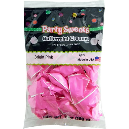 Party Sweets Bright Pink Buttermint Creams Candy, 7 oz (Small Pink Sweets)