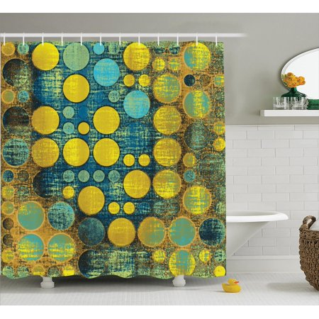 Polka Dots Home Decor Shower Curtain Set, Polka Dots Pattern 60'S Style Vintage Groovy Decor Circles And Points Print, Bathroom Accessories, 69W X 70L Inches, By Ambesonne (60's Decor)