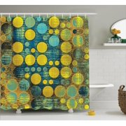 Polka Dots Home Decor Shower Curtain Set, Polka Dots Pattern 60'S Style Vintage Groovy Decor Circles And Points Print, Bathroom Accessories, 69W X 70L Inches, By Ambesonne