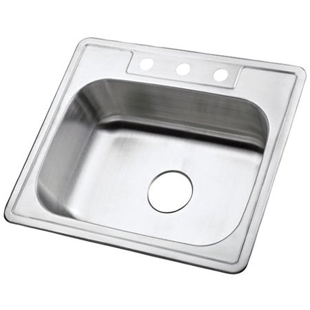 Grey Self Rimming Kitchen Sink (Carefree 25'' L x 22'' W Single Bowl Self-Rimming Kitchen Sink)