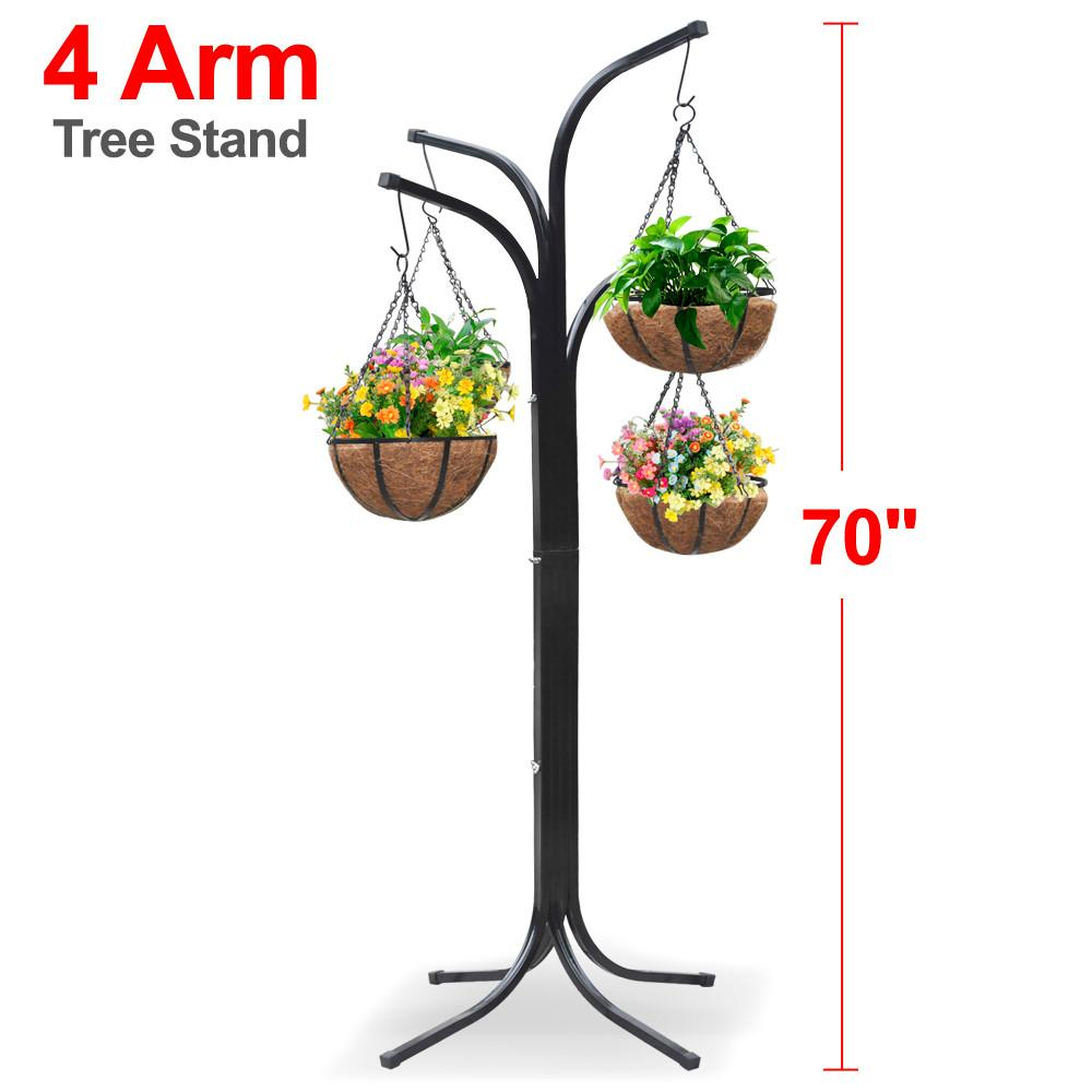 225 & Yaheetech 4 Arm Tree Plant Stand Hanging Holder Baskets /w 4 Coco-lined Baskets Hanging Decor Patio Garden Yard Lawn