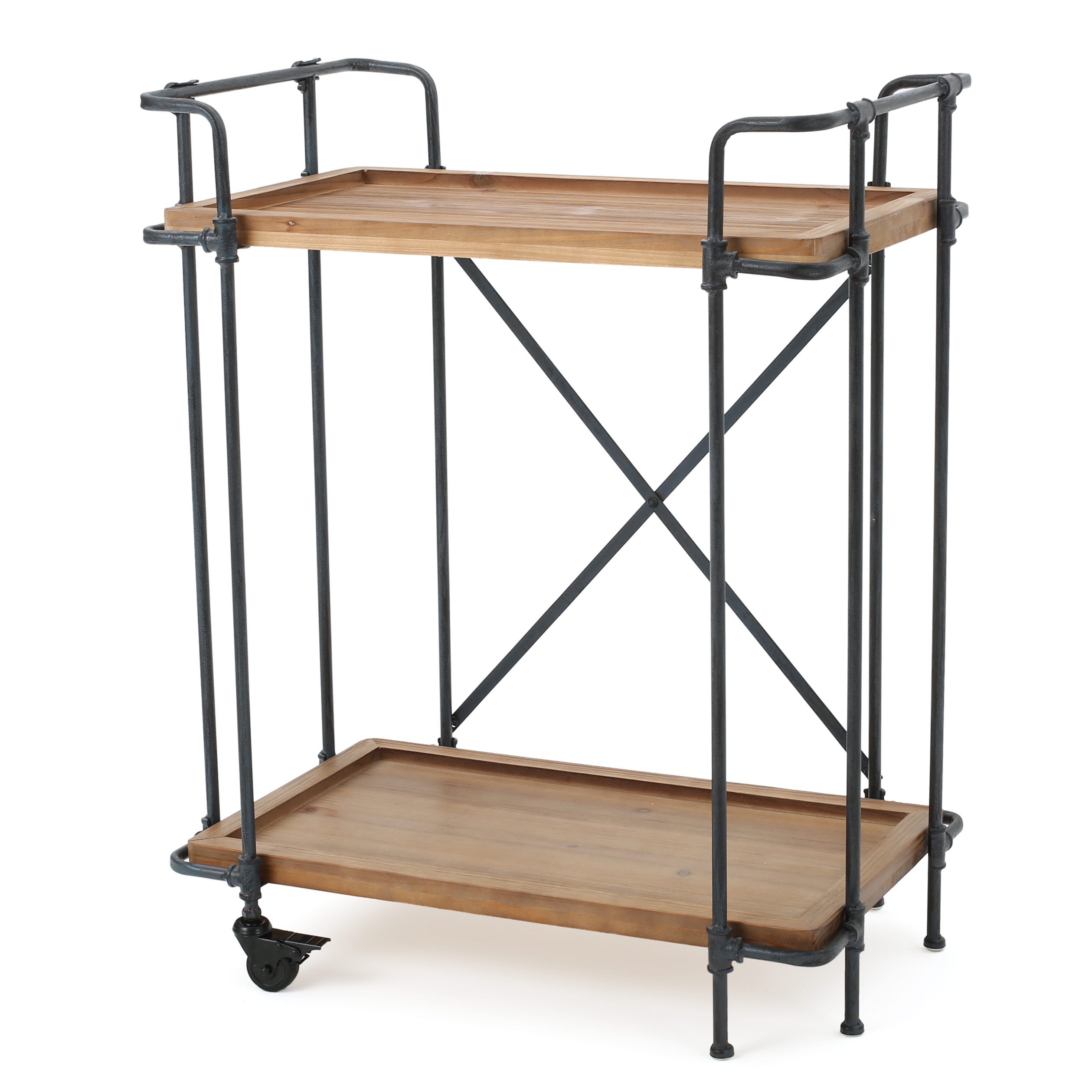Pisa Outdoor Antique Fir Wood and Iron Bar Cart with Casters