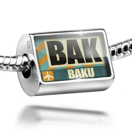 Bead Airportcode Bak Baku Charm Fits All European Bracelets