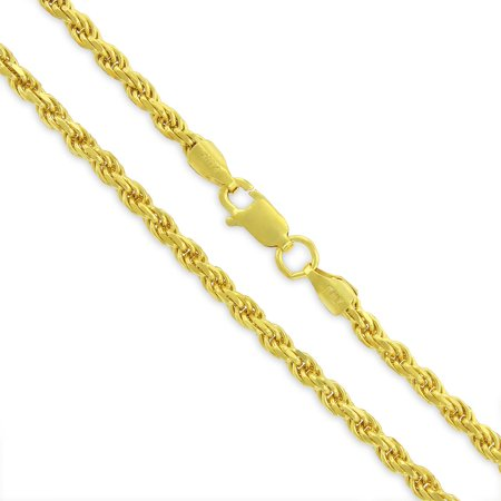 "Sterling Silver Italian 3mm Rope Diamond-Cut Link Solid 925 Yellow Gold Plated Twisted Chain Necklace 20"" - 30"""