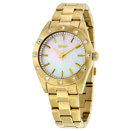 Pearl Tone Dial - DKNY NY8661 Glitz Gold Toned Steel Women's White Mother of Pearl Dial Watch New