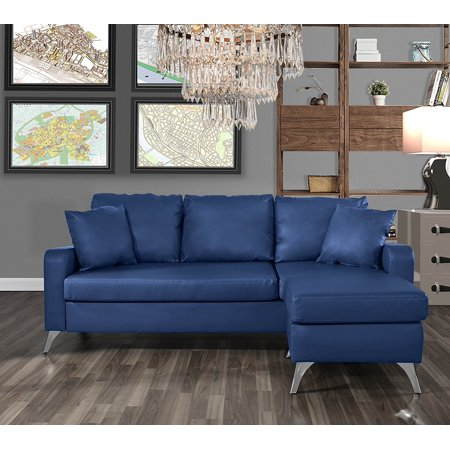 Groovy Bonded Leather Sectional Sofa Small Space Configurable Couch Blue Evergreenethics Interior Chair Design Evergreenethicsorg
