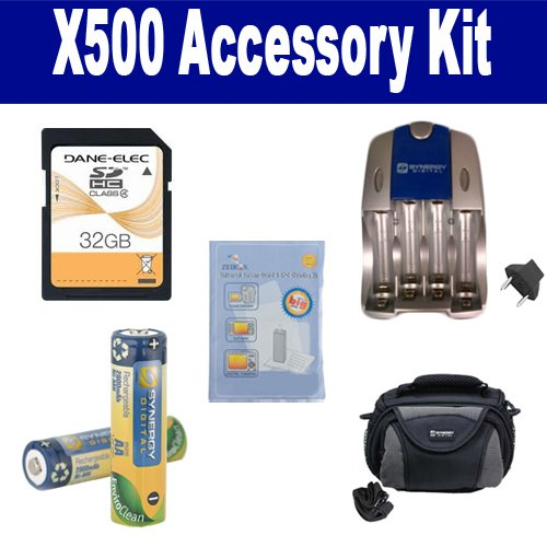 GE X500 Digital Camera Accessory Kit includes: SDC-26 Case, ZELCKSG Care & Cleaning, SB257 Charger, SD32GB Memory Card