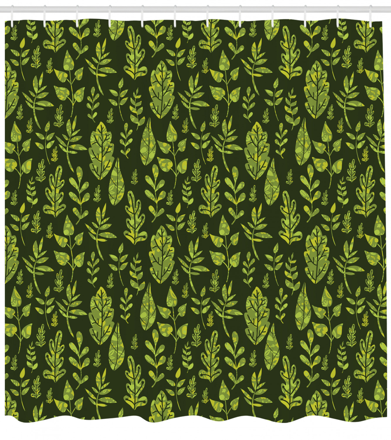 Sage Shower Curtain Patterned Green Leaves Nature Inspired Composition Fresh Trees Woodland Fabric Bathroom Set With Hooks 69w X 70l Inches Apple