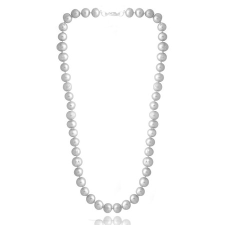 - 8-9mm Gray Freshwater Cultured Pearl Necklace, 18