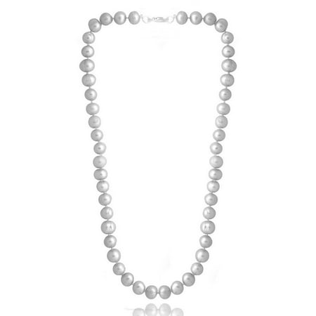 8-9mm Gray Freshwater Cultured Pearl Necklace, 18