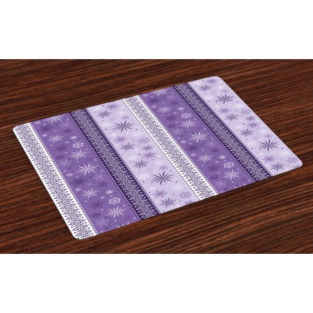 Ethnic Placemats Set of 4 Arabesque Scroll Western Christmas Snowflakes Middle Eastern Noel Print, Washable Fabric Place Mats for Dining Room Kitchen Table Decor,Lavender Violet White, by Ambesonne - Western Place