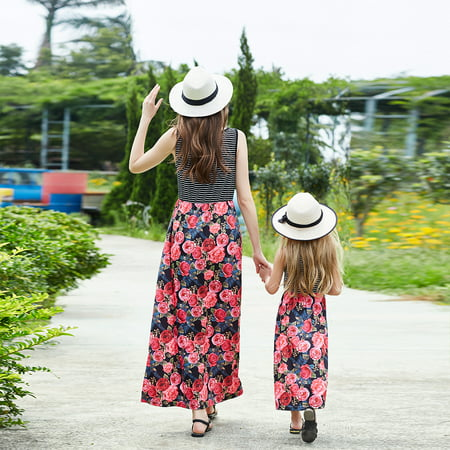 Floral Mother Daughter Dresses Fashion Family Long Dress Matching Mom Girls Family Clothes Summer Women Baby Mommy And Me Beach Dresses - 60s Girls Fashion