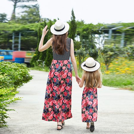 Floral Mother Daughter Dresses Fashion Family Long Dress Matching Mom Girls Family Clothes Summer Women Baby Mommy And Me Beach