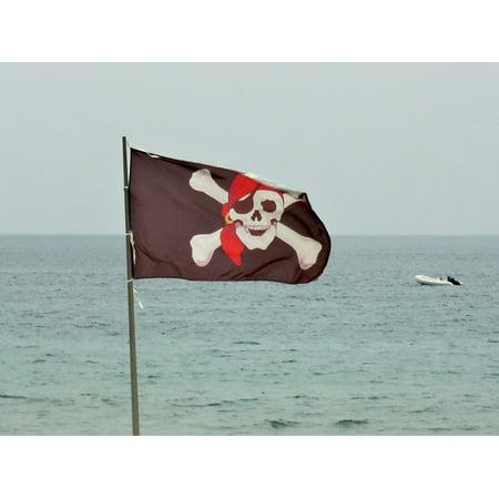 Canvas Print Flag Sea Pirates Skull And Crossbones Stretched Canvas 10 x (Crossbones Set)