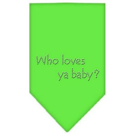 Who Loves Ya Baby Rhinestone Bandana Lime Green
