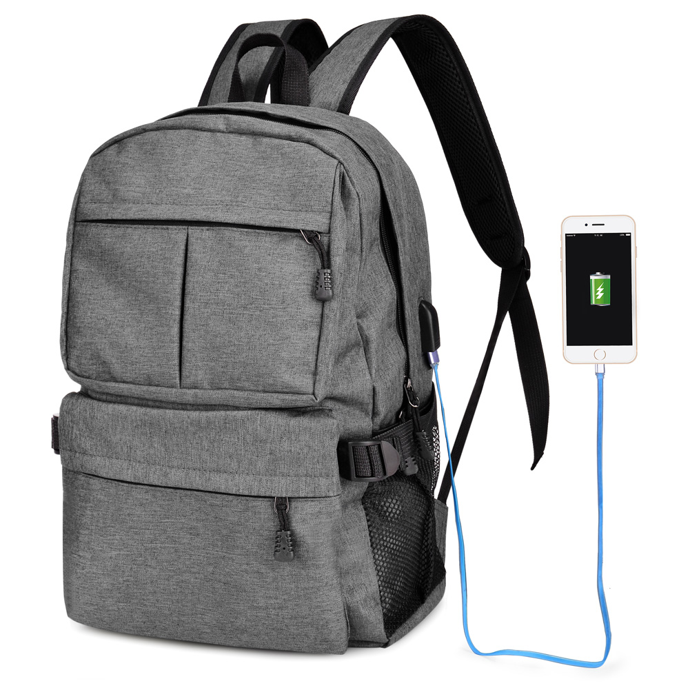 Oxford Backpack Large Capacity Computer Backpacks Lightweight School Shoulder Bag Casual Daypack with Charging Port