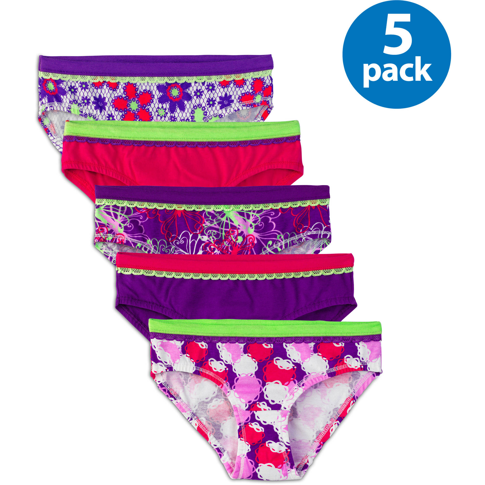 Fruit of the Loom Girls' Cotton Stretch Hipster Panties, 5 Pack