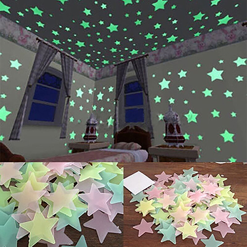 HiCoup 100/40Pcs 3D Glow in the Dark Stars Ceiling Wall Stickers Cute Living Home Decor
