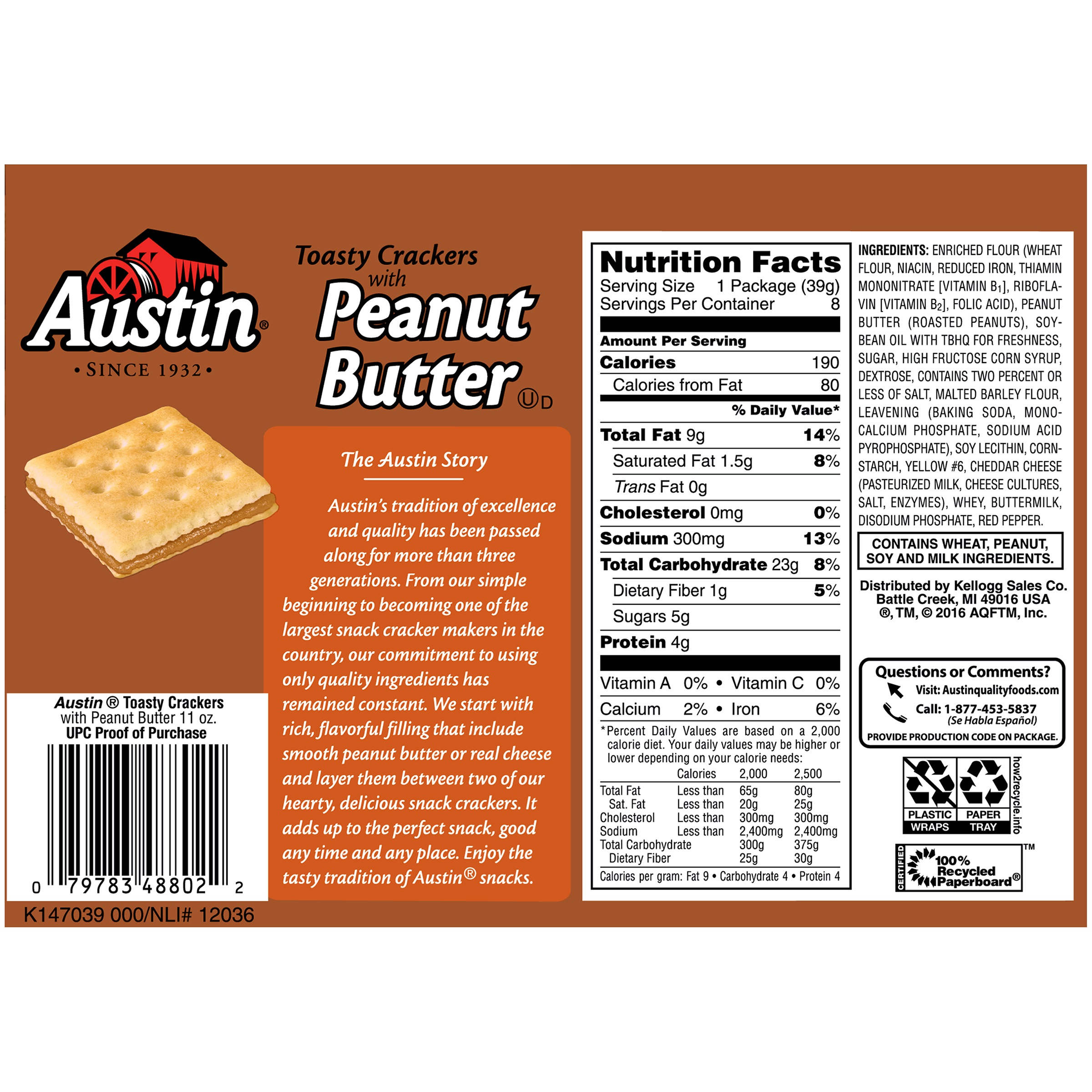 austin toasty crackers with peanut butter cracker sandwiches, 1.38
