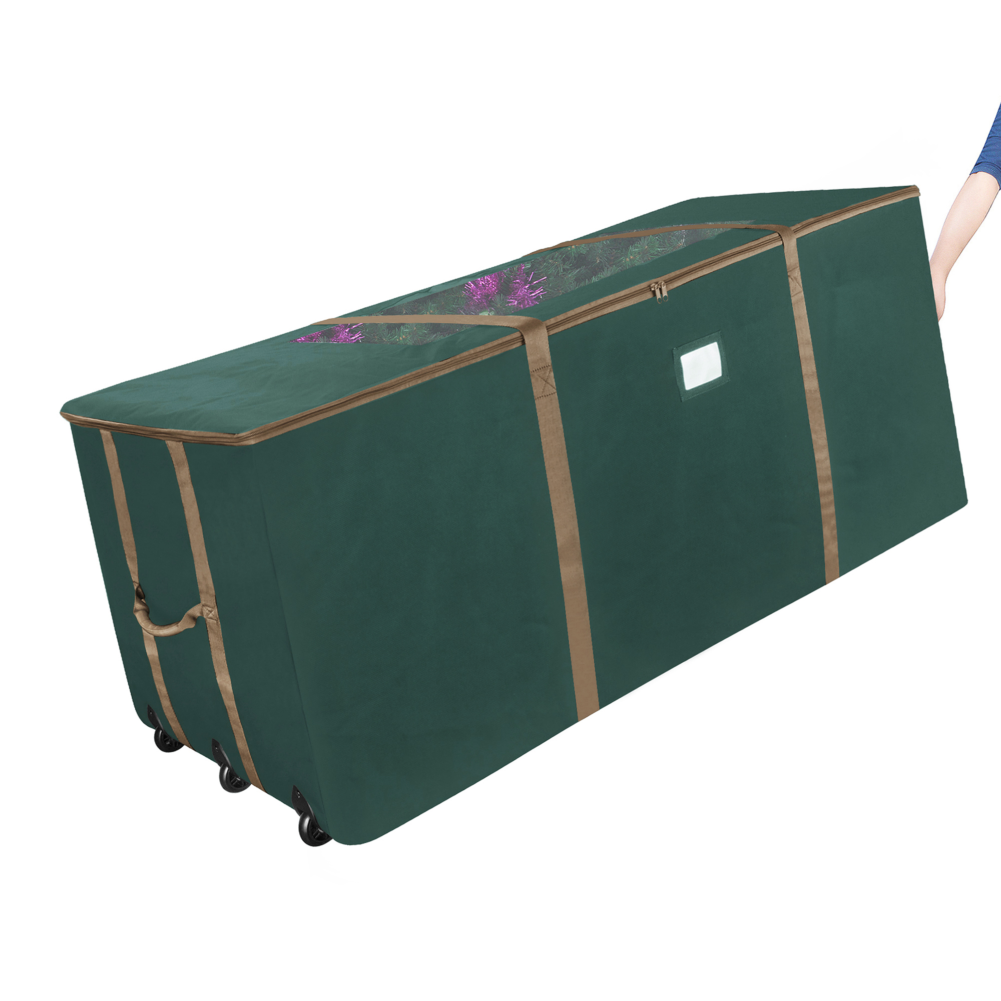 Elf Stor Green Rolling Christmas Tree Storage Duffel Bag w/Window for 9 Ft Tree