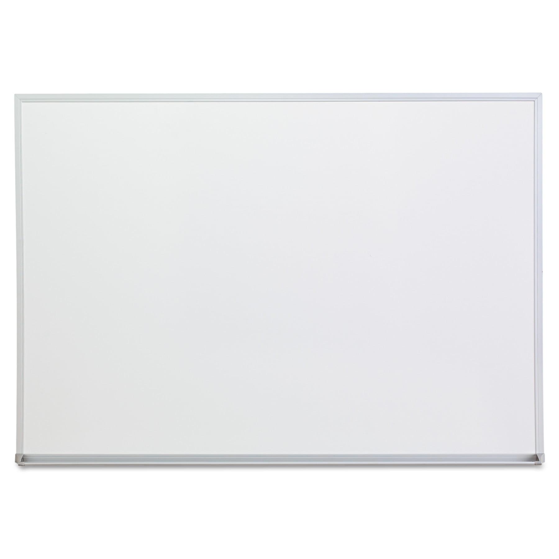 """Universal Melamine Dry Erase Board, 48"""" x 36"""", Satin-Finished Aluminum Frame"""