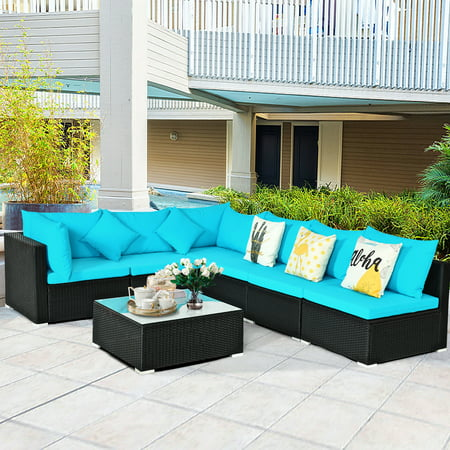 Gymax 7PCS Rattan Patio Conversation Set Sectional Furniture Set w/ Blue Cushion - image 1 of 10