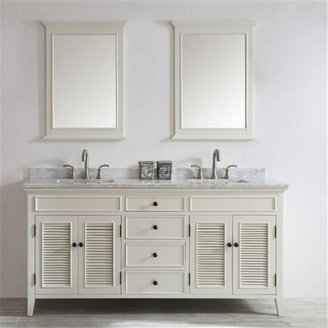 Vinnova 708072-AW-CA Piedmont 72 in. Double Vanity In Antique White with Carrara White Marble Top with Mirror