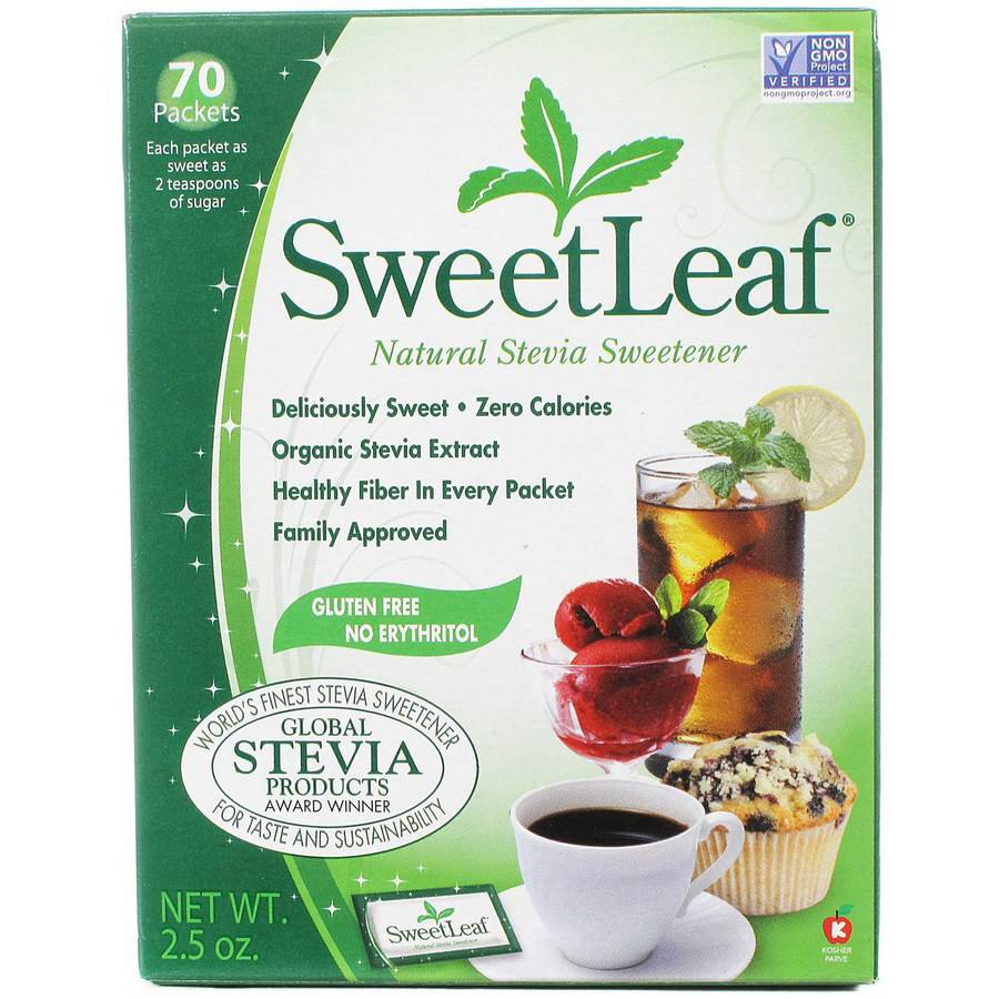 Sweetleaf Stevia Packets with Fiber, 70 count, (Pack of 2)