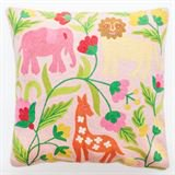 Abigails Pillow Crewel Embroidery in Jungle Design