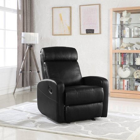 Overstuffed Sleek Modern Living Room Faux Leather Recliner Chair (Overstuffed Brown Leather)