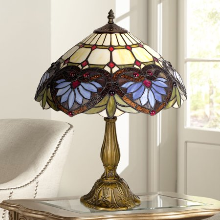 Robert Louis Tiffany Traditional Accent Table Lamp Metal Leaf Base Heart Motif Stained Art Glass Shade for Living Room Family