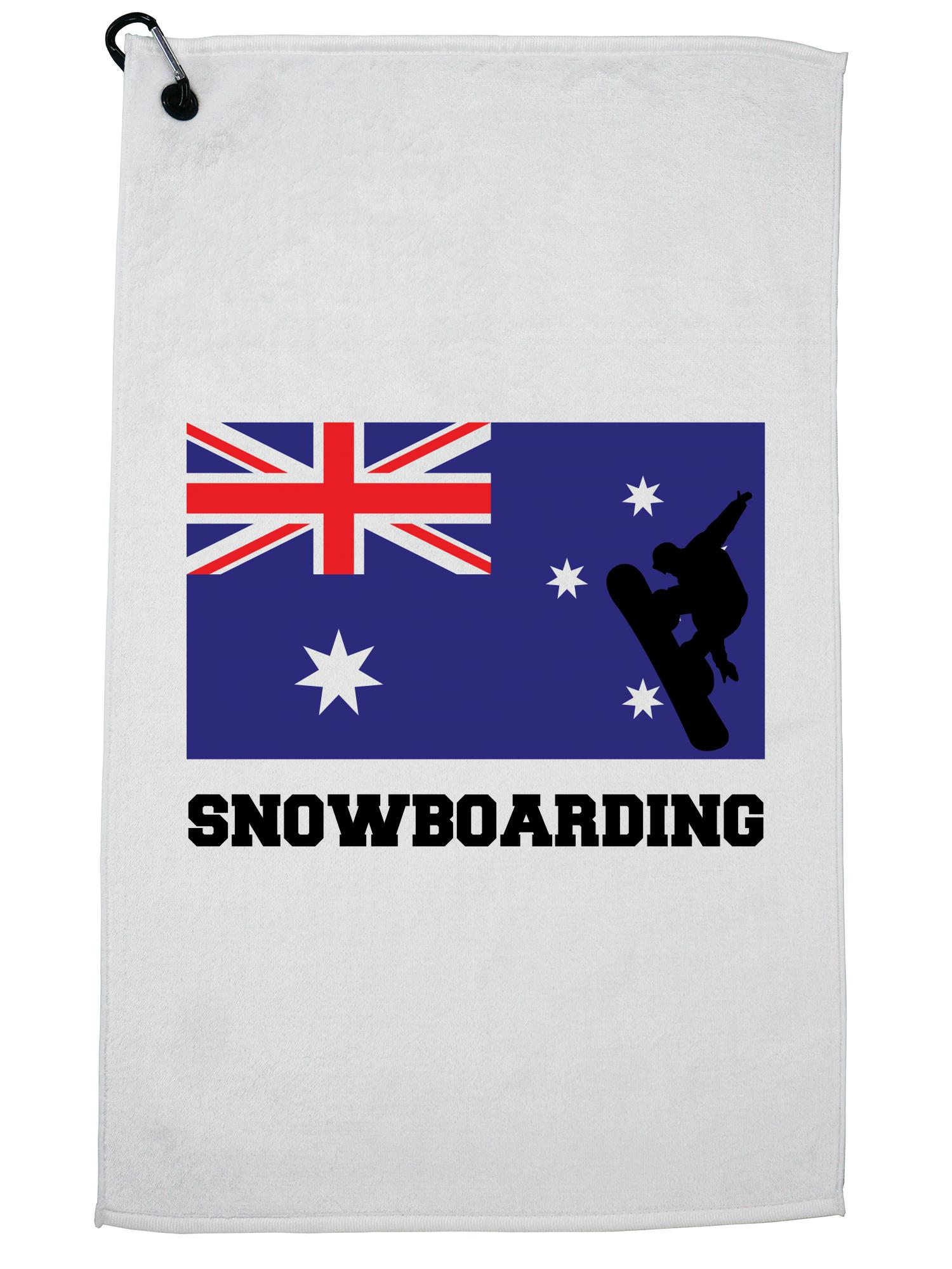 Australia Olympic Snowboarding AUS Flag Silhouette Golf Towel with Carabiner Clip by Hollywood Thread
