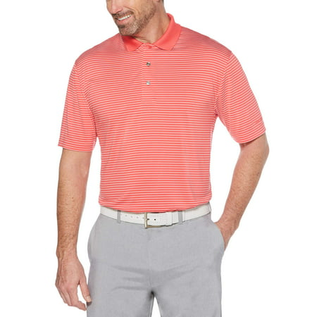 Men's Performance Short Sleeve Striped Polo Shirt, up to 5XL
