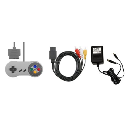 SNES Parts Bundle - 2 Controllers, Power Adapter, and AV Cable - by Mars Devices ()