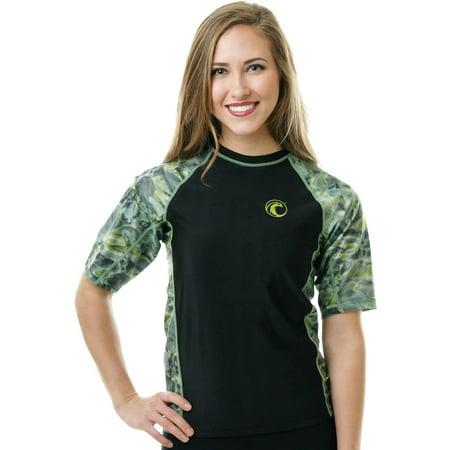 ec05c97d14a6e Aqua Design - Aqua Design Womens Big Wave Short Sleeve Comfort Fit Rash  Guard Swim Shirt - Walmart.com