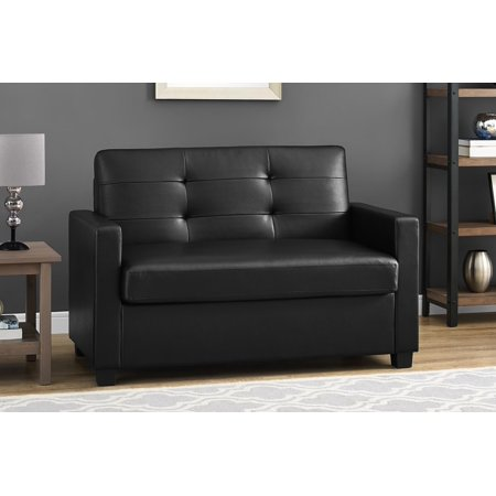 Mainstays Loveseat Sleeper Sofa Twin Black Faux Leather