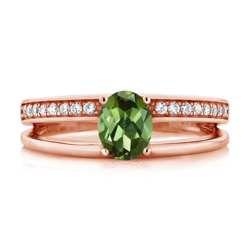 0.86 Ct Oval Green Tourmaline 18K Rose Gold Plated Silver Ring by