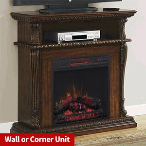 Corinth Electric Fireplace TV Stand in Walnut with Infrared Firebox (Heats 1,000 square feet)