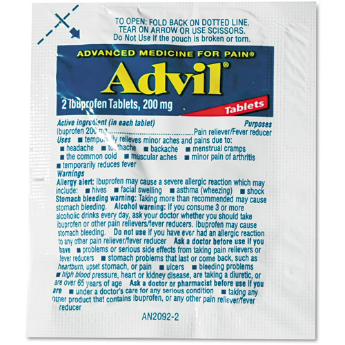 Advil Pain Reliever/Fever Reducer Single-Dose Tablets, 200mg, 30 count