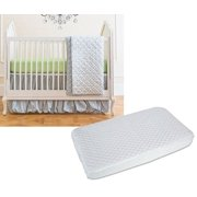 Summer Infant 4 Piece Bedding Set with Crib Mattress Pad, Gray