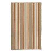 5' x 7' Beige and Orange Striped Rectangular Area Throw Rug
