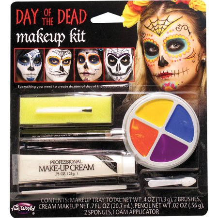 Day Of The Dead Character Kit Adult Halloween Accessory - Halloween Makeup Ideas For Dead School Girl