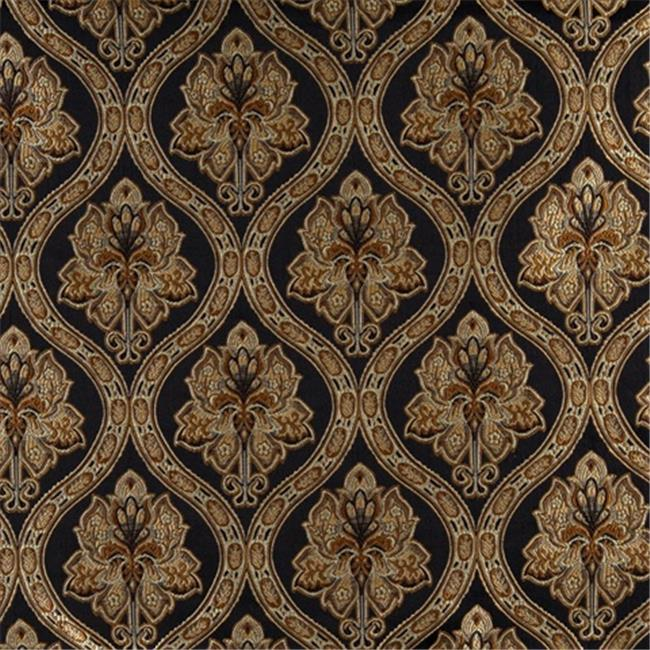 Designer Fabrics K0016C 54 in. Wide Midnight, Gold And Ivory Embroidered, Traditional Brocade, Upholstery And Window Treatments Fabric