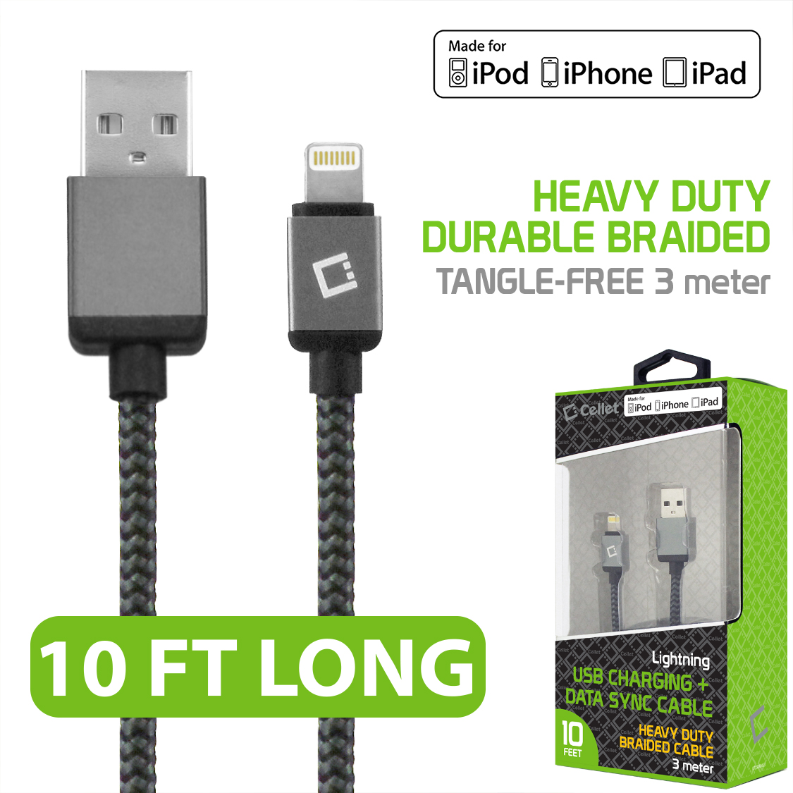 Apple MFi Certified 10 Feet Heavy-Duty Nylon-Braided Data Sync Lighting to USB Charging Cable for iPhones & iPads by Cellet