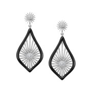 Morning Star Drop Earrings with Cubic Zirconia in Sterling Silver