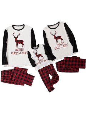 Matching Christmas Reindeer Family Pajamas Set Xmas Adult Sleepwear Nightwear for Family Couples Kids