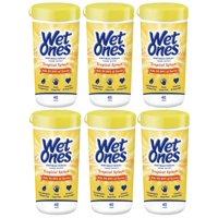 (6 Pk) Wet Ones Antibacterial Hand Wipes Canister, Tropical Splash, 40 Ct